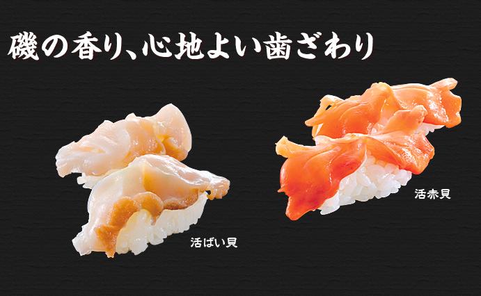 活ばい貝、活赤貝