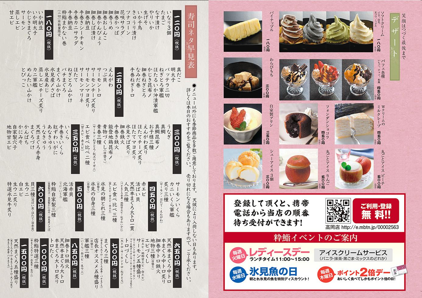 デザート、寿司ネタ早見表
